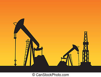 Oil rig and pump - Oil rig and oil pump over sunset, vector...