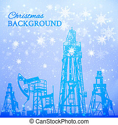 Oil rig and oil pump over snowfall. Vector illustration.
