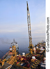 Oil Rig and Ship