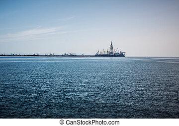 Oil rig at dock