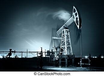 Oil Rig at night.