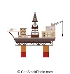 Oil rig at sea icon, cartoon style
