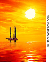 Oil Rig at sunrise