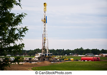 Oil rig drilling in Eastern Colorado, USA - Oil rig drilling...