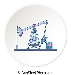 Oil rig icon, cartoon style