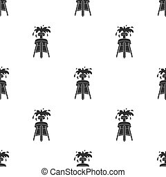 Oil rig icon in black style isolated on white background. Arab Emirates pattern stock vector illustration.