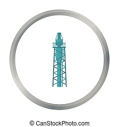 Oil rig icon in cartoon style isolated on white background. Oil industry symbol stock vector illustration.