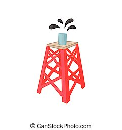 Oil rig icon in cartoon style