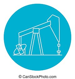 Oil rig icon in thin line style