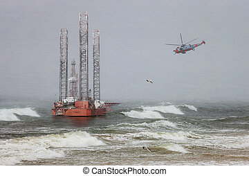 Oil rig in blizzard