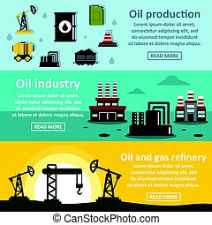 Oil rig industry banner horizontal set, flat style