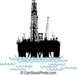 Oil rig number two - Silhoutte of an oil rig in the middle...