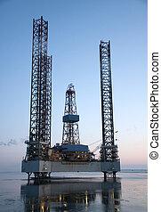 Oil rig off shore - Of shore oil rig blue sky