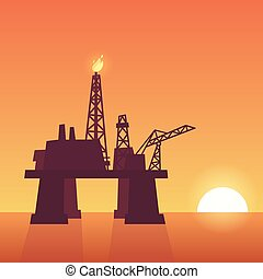 Oil rig on sunset - Oil extraction rig on sunset. Offshore...