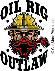 oil rig outlaw design with mascot wearing hard hat and ...
