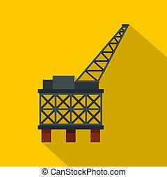 Oil rig platform icon, flat style