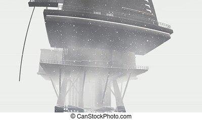 Oil rig platform standing in frozen sea