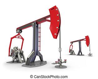Oil Rig : Pump jacks isolated on white