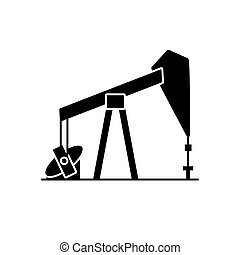 Oil rig silhouette icon in flat style