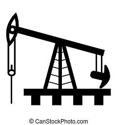 Oil rig silhouette on a white background