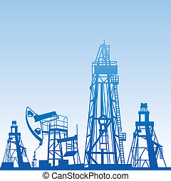Oil rig silhouettes and blue sky, vector illustration