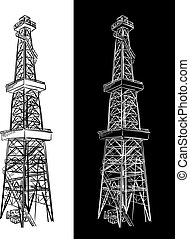 Oil Rig. Vector sketch.