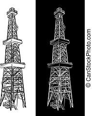 Oil Rig. Vector sketch.