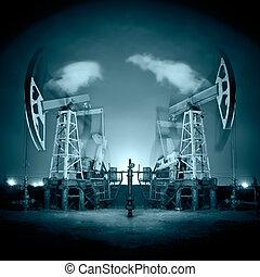 Oil Rigs at night.