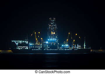 oil rigs in a port