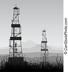 Oil rigs silhouette. Detailed illustration.