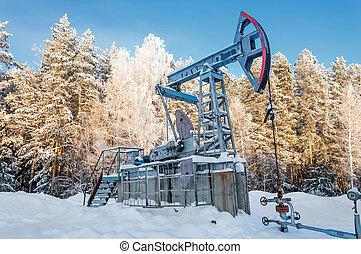 Oil rocking spring. Tatarstan, Russia
