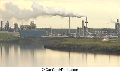 Oil sand processing plant and tailing pond in Fort McMurray, Alberta, Canada