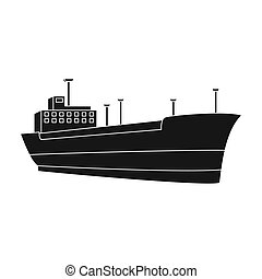 Oil ship.Oil single icon in black style vector symbol stock...
