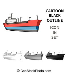 Oil ship.Oil single icon in cartoon style vector symbol...