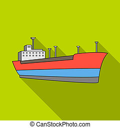 Oil ship.Oil single icon in flat style raster, bitmap symbol...