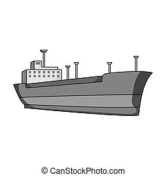 Oil ship.Oil single icon in monochrome style raster, bitmap...