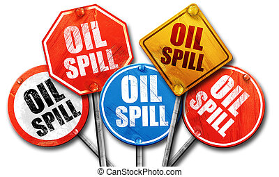 oil spill, 3D rendering, street signs