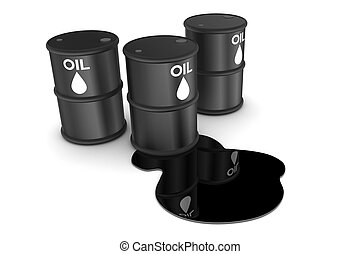 Oil Spill and Drums - Oil spill and drums illustration...