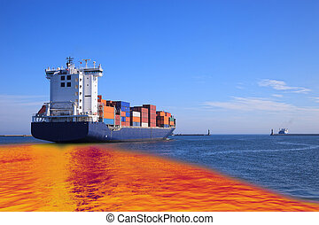 Oil spill - Environmental pollution caused by oil spill from...