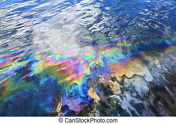 Oil spill in Pearl Harbor - Oil spill from USS Arizona...