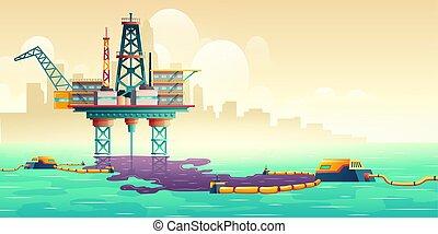 Oil spill liquidation technology vector concept