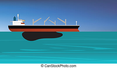 oil spill off a vessel of crude oil - vector illustration of...