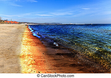 Oil spill - Oil Spill on Beach - Image is an artistic...