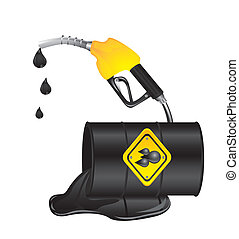 oil spill with oil barrel isolated over white background. ...