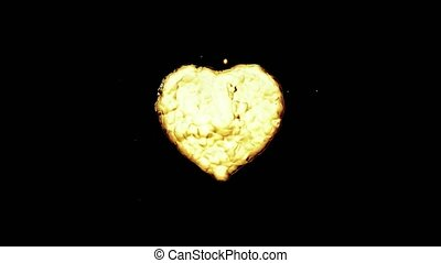 Oil splash in the form of a heart. Isolated on black background. 3d rendering