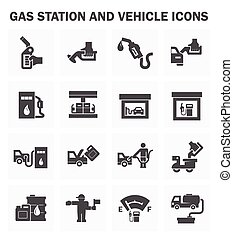 Oil station - Gas station and vehicle icons sets.