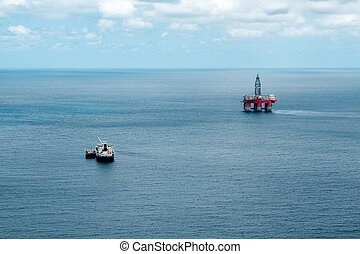 Oil station in the middle of the sea, near Tenerife