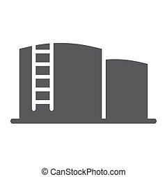 Oil storage glyph icon, fuel and industry, oil tank sign, vector graphics, a solid pattern on a white background.