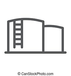 Oil storage line icon, fuel and industry, oil tank sign, vector graphics, a linear pattern on a white background.