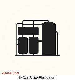 Oil storage tank icon logo, illustration, vector sign symbol for design
